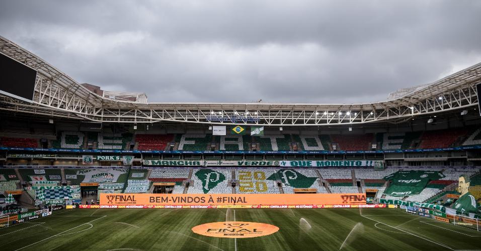 Allianz Parque decorado para receber a finalíssima da Copa do Brasil entre Palmeiras e Grêmio