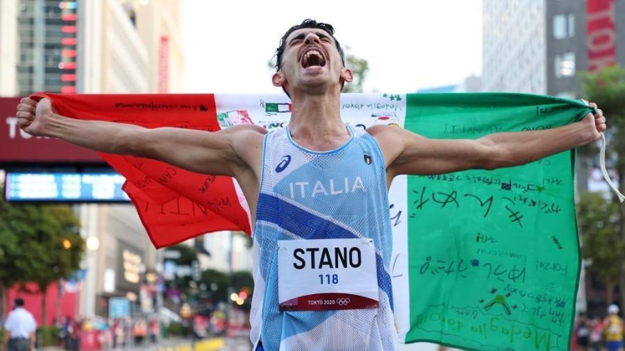 Massimo Stano surpreendeu favoritos e conquistou o ouro na marcha atlética nas Olimpíadas de Tóquio - Lintao Zhang/Getty Images