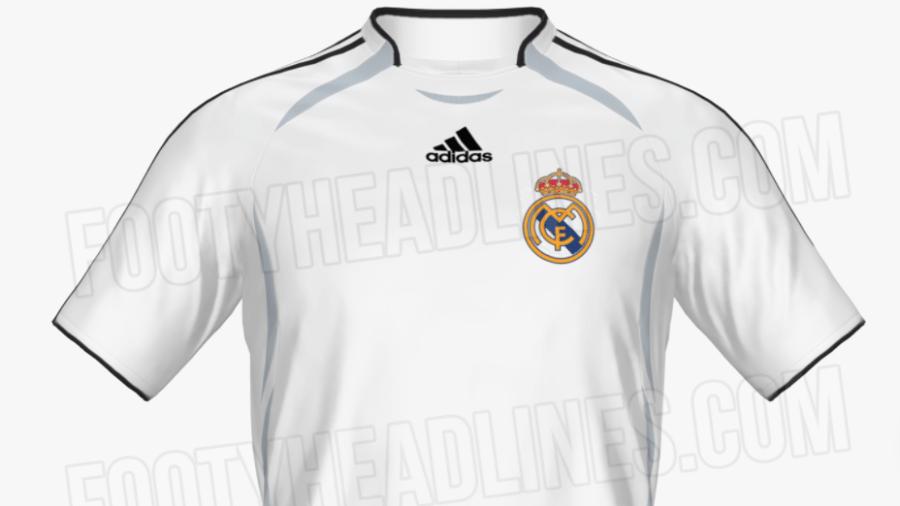 Suposto novo uniforme 1 do Real Madrid é inspirado nos uniformes da Adidas de 2006 - Reprodução/FootyHeadlines.com