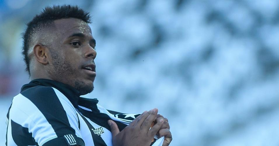 Marcos Vinicius comemora um de seus gols pelo Botafogo contra o São Paulo