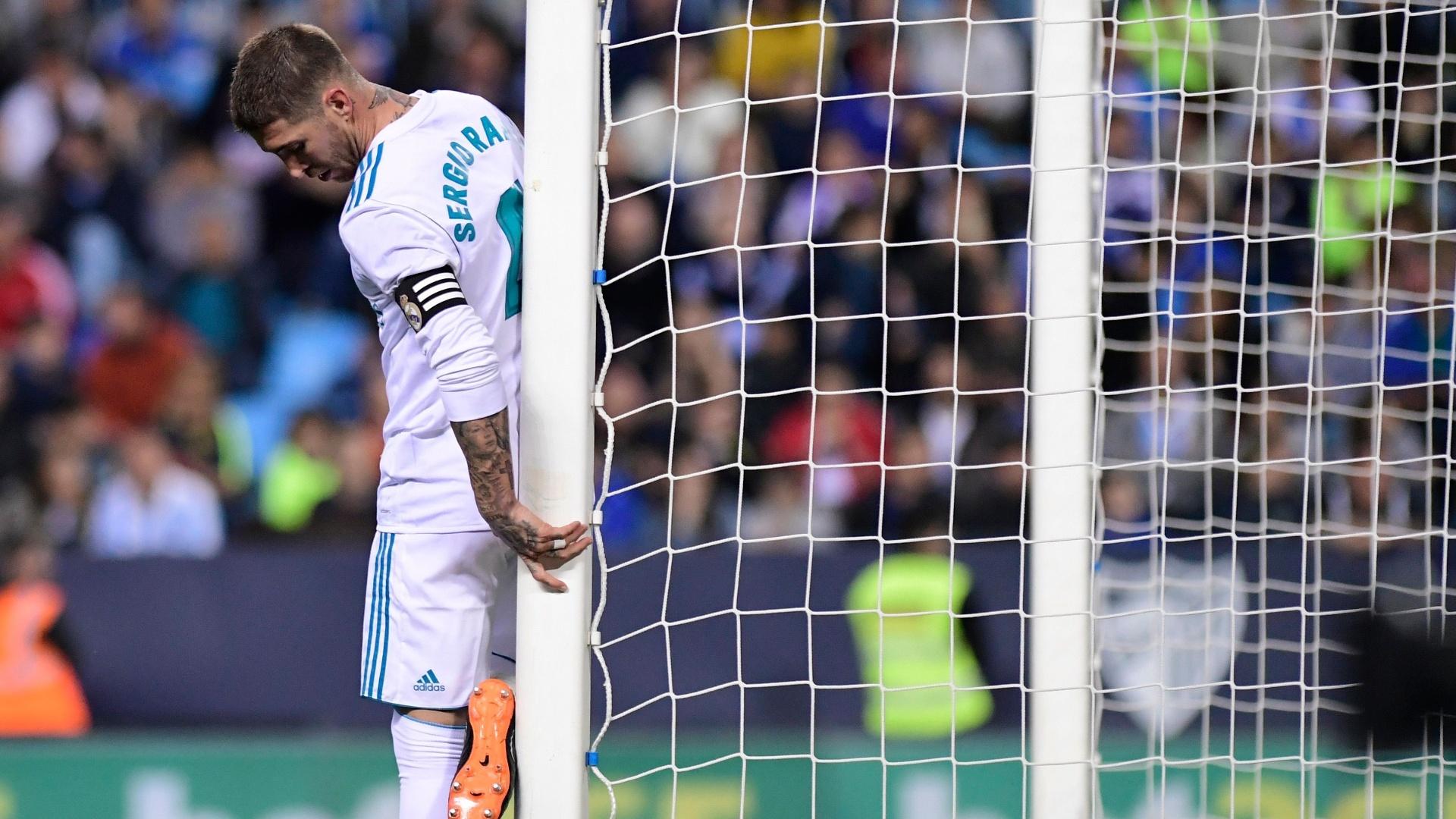 Sergio Ramos durante a partida entre Real Madrid e Málaga