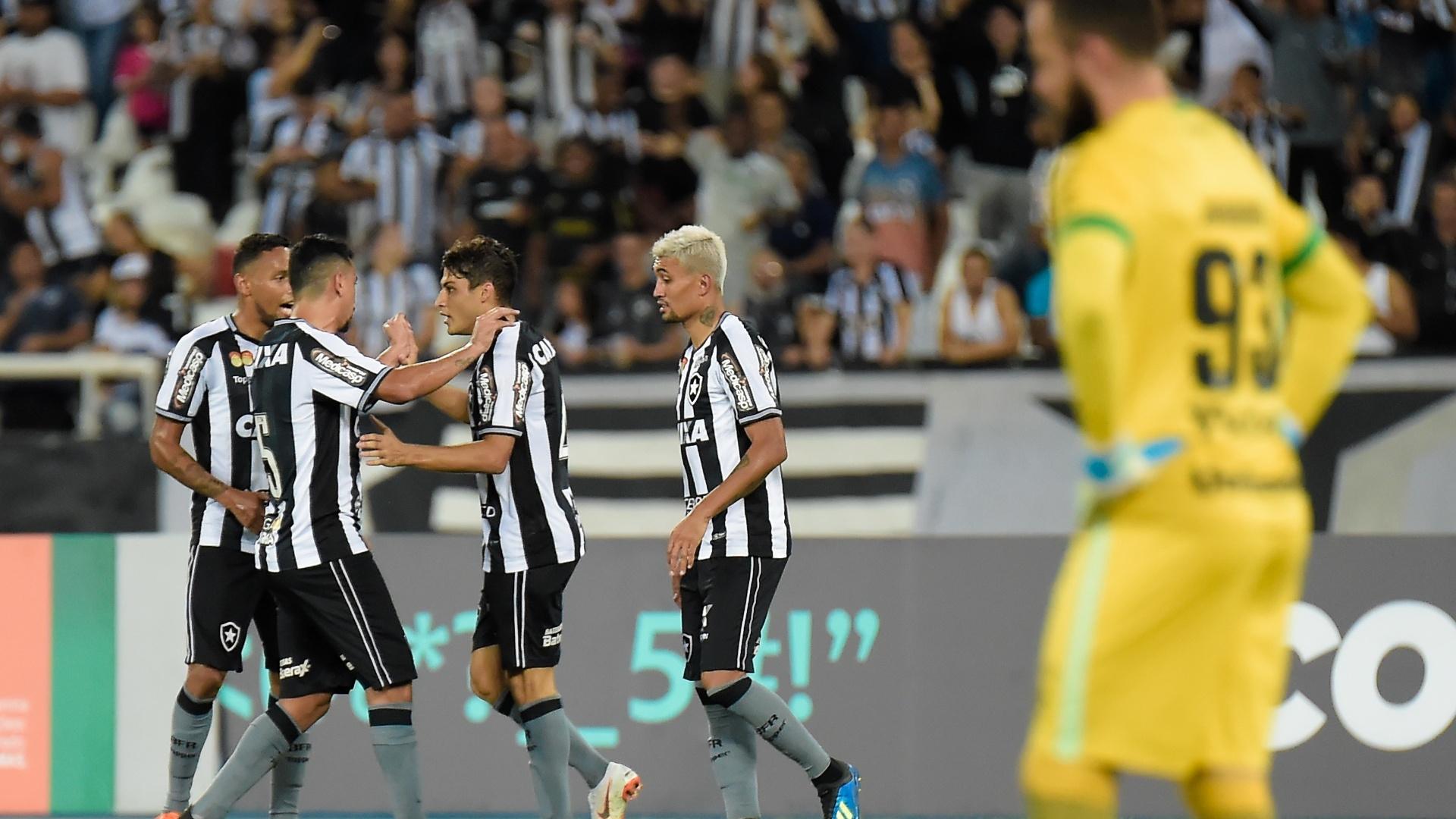 Jogadores do Botafogo comemoram gol de Marcinho diante da Chapecoense pelo Campeonato Brasileiro