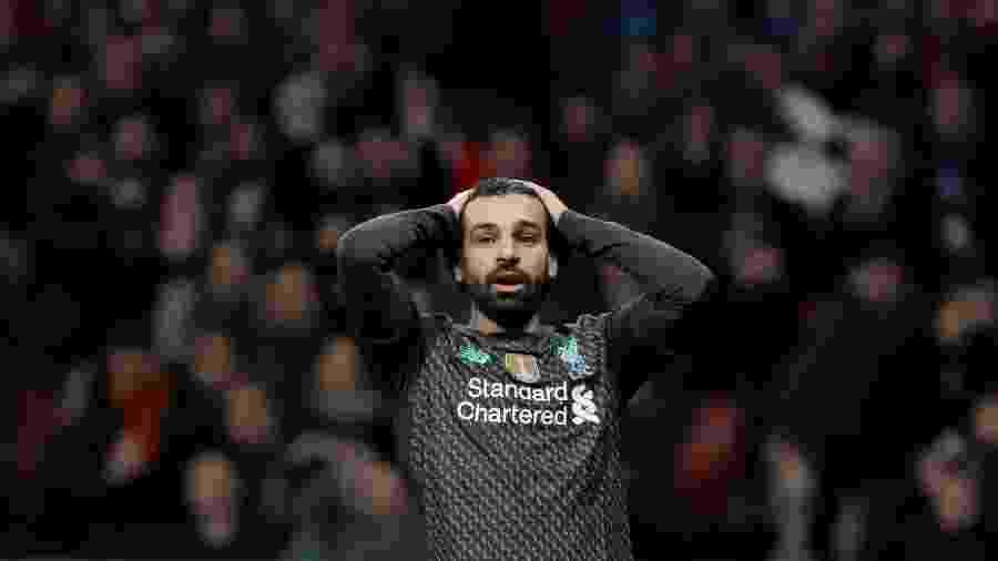 Mohamed Salah teve a melhor chance do Liverpool ontem, mas errou o cabeceio - REUTERS/Susana Vera
