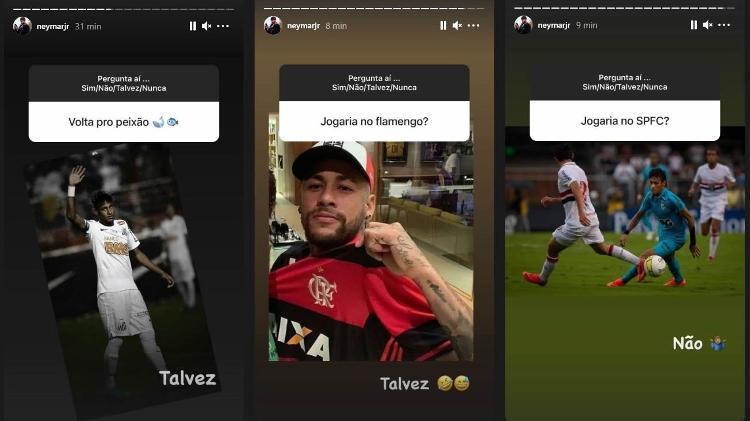 Neymar diz 'talvez' para Fla e Santos e 'não' para chance para o SPFC - Reprodução/Instagram/@neymarjr - Reprodução/Instagram/@neymarjr