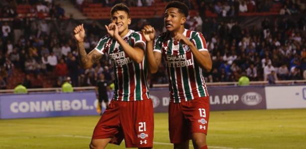 Pedro e Nogueira festejam a vaga: dupla formada no Flu fez o que Conca não conseguiu