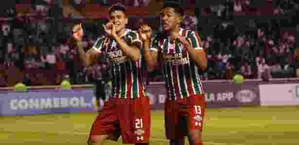 Pedro e Nogueira festejam a vaga: dupla formada no Flu fez o que Conca não conseguiu - Nelson Perez/Fluminense F.C.