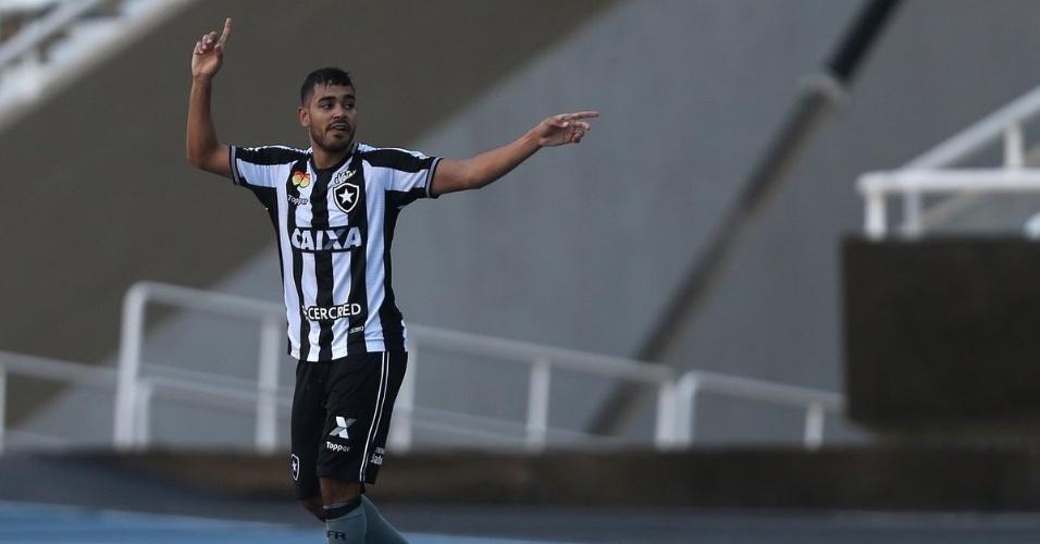 Brenner comemora gol do Botafogo diante do Grêmio no Estádio Nilton Santos pelo Campeonato Brasileiro