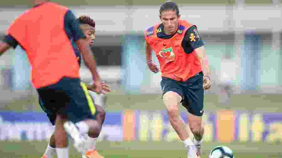 Filipe Luís, durante treino da seleção brasileira antes da Copa América - Lucas Figueiredo/CBF
