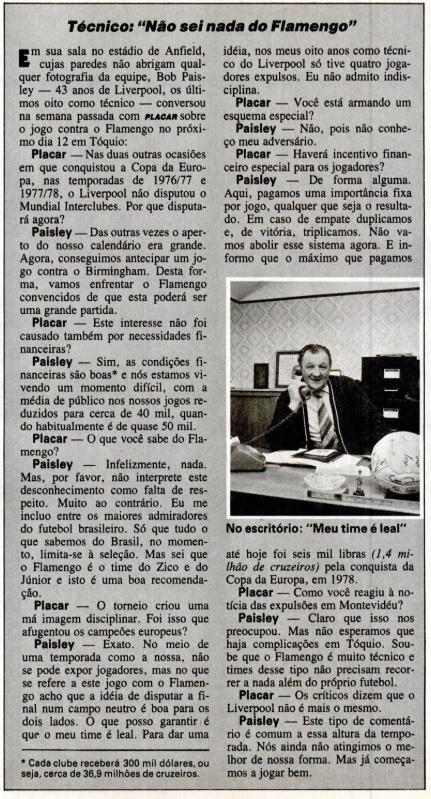 Bob Paisley concede entrevista à Placar