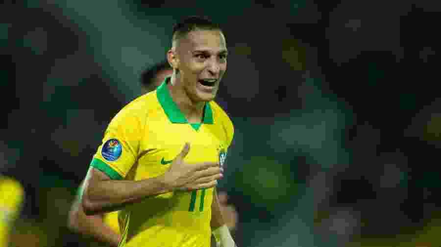 Antony abriu o placar para o Brasil diante da Bolívia no Pré-Olímpico - Lucas Figueiredo/CBF