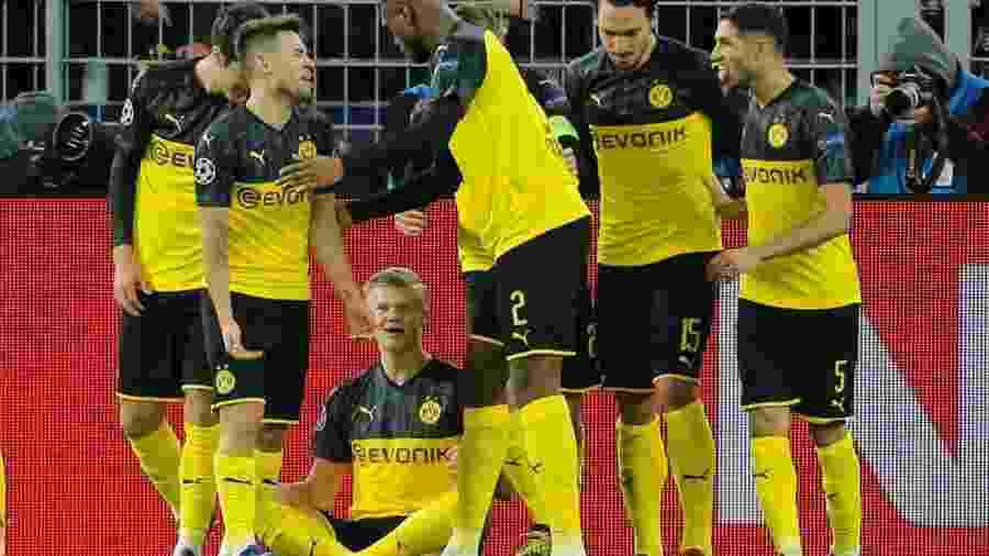 Haaland comemorando primeiro gol contra o PSG  - Leon Kuegeler/Reuters