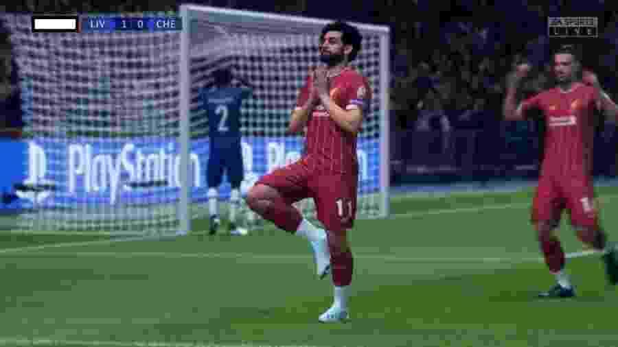 Salah comemora fazendo yoga no Fifa 20 - Reprodução