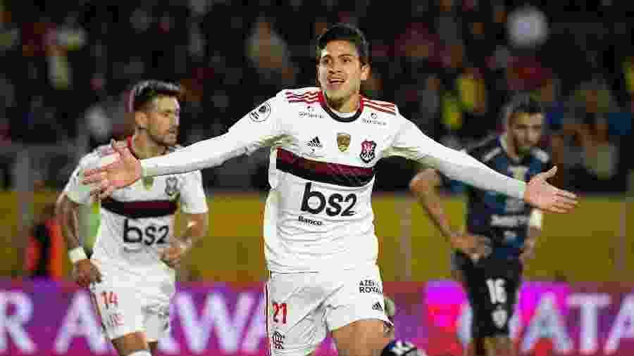 Pedro festeja gol do Flamengo diante do Independiente del Valle (EQU) - Alexandre Vidal/Flamengo
