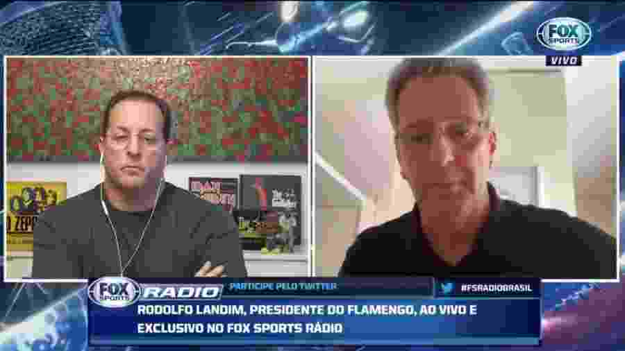 Presidente do Flamengo, Rodolfo Landim em entrevista à Fox Sports - Reprodução / Fox Sports