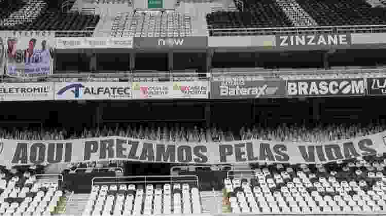 Faixa no Engenhão antes de Botafogo x Flamengo - Reprodução - Reprodução