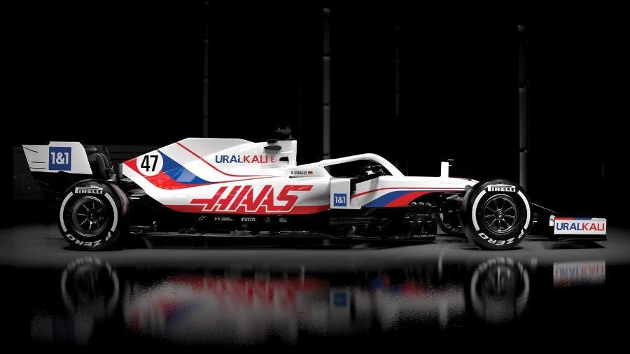 Pintura do carro de 2021 da equipe Haas tem cores dos patrocinadores de Mazepin - Divulgação/Haas