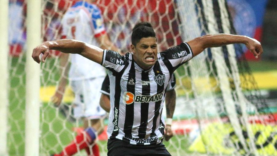 Hulk, atacante do Atlético-MG, em comemoração contra o Bahia - Fernando Moreno/AGIF