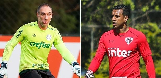 Fotomontagem com os goleiros Fernando Prass (Palmeiras) e Sidão (São Paulo)