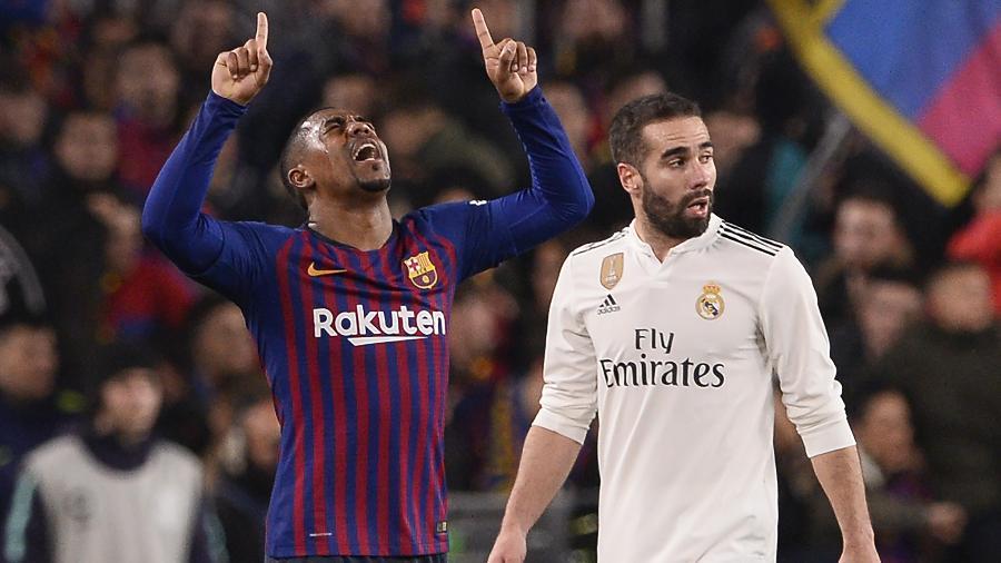 Vinícius Júnior começou jogada do gol do Real Madrid no primeiro tempo; no segundo, Malcom (foto) empatou para o Barça - Josep Lago/AFP