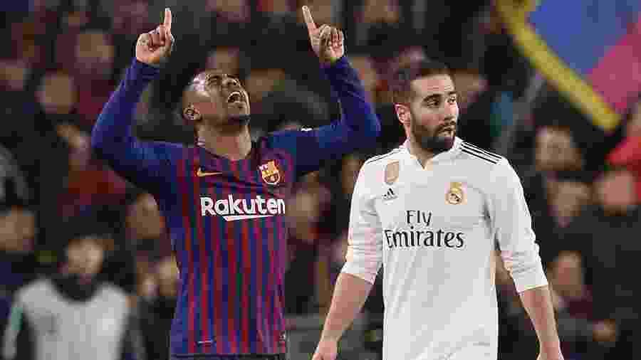 Malcom comemora gol do Barcelona diante do Real Madrid - Josep Lago/AFP