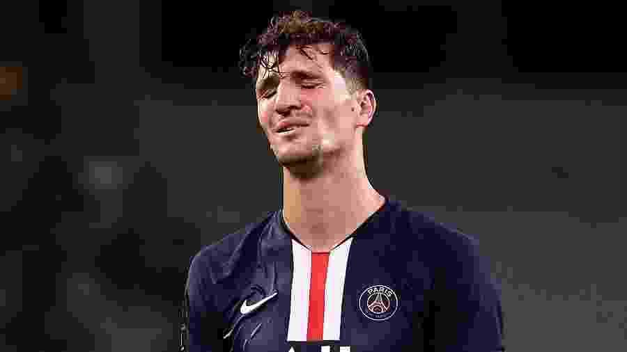 O lateral do PSG, Thomas Meunier, pode ir para o Borussia Dortmund ao fim do contrato - FRANCK FIFE / AFP