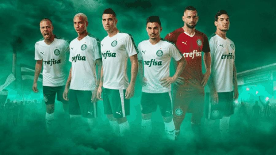 Imagem do lançamento dos uniformes do Palmeiras feitos pela Puma, em janeiro - Divulgação