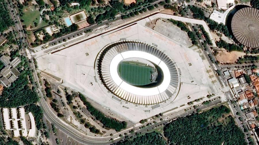 Vista aérea do Mineirão, o maior estádio de Minas Gerais - Pléiades, © Cnes, Distribuição Airbus DS