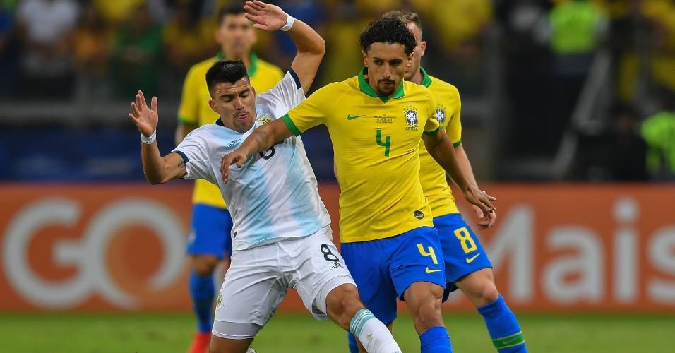 Marquinhos, durante partida entre Brasil e Argentina