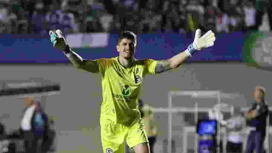 Goleiro Tadeu, do Goiás, contra o Palmeiras, em jogo no qual desmaiou após choque de cabeça - Heber Gomes/AGIF