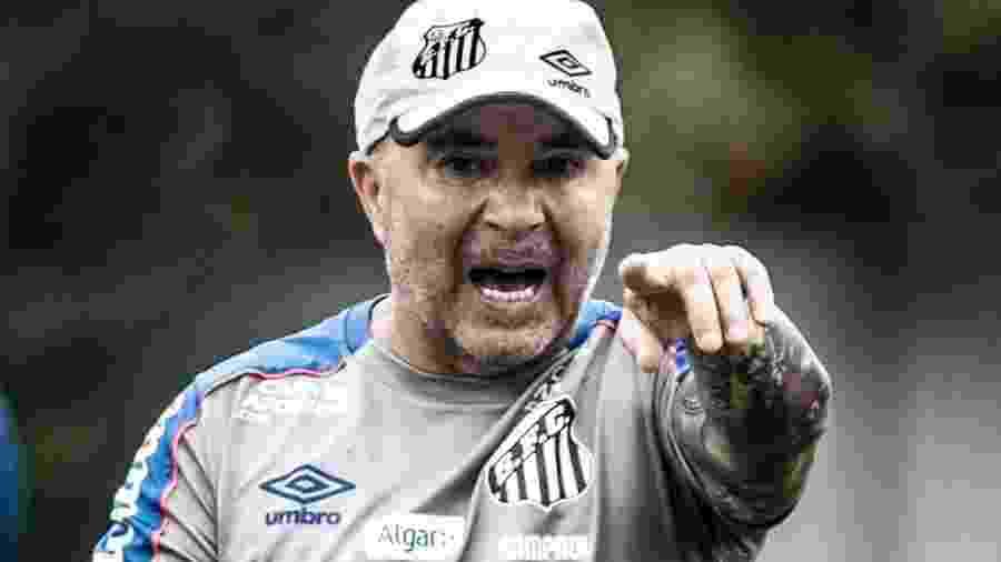 Jorge Sampaoli cobra durante treino do Santos - Ivan Storti/Santos FC