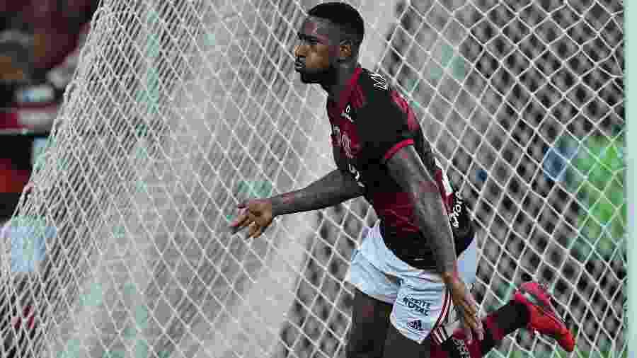 Gerson comemora gol do Flamengo contra o Del Valle - Thiago Ribeiro/Agif