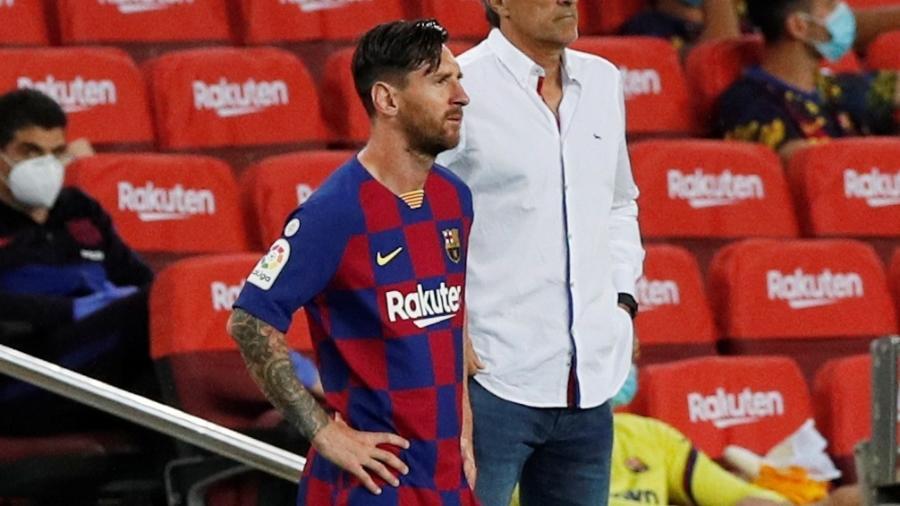 Lionel Messi durante jogo entre Barcelona e Osasunada, na penúltima rodada do Espanhol - REUTERS/Sergio Perez