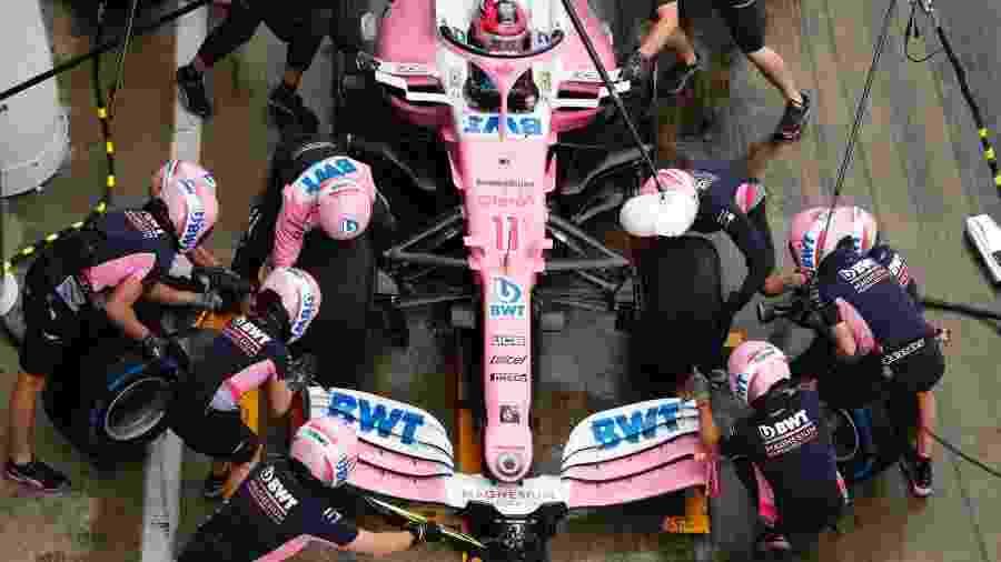Racing Point faz pit stop no carro de Perez - Racing Point/Divulgação