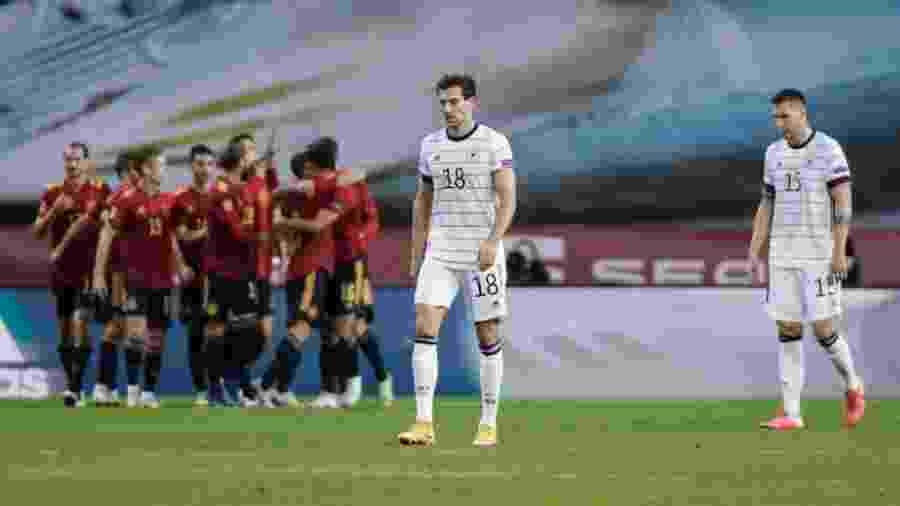 Alemanha lamenta durante a partida contra a Espanha, pela Liga das Nações - dpa/picture alliance via Getty I