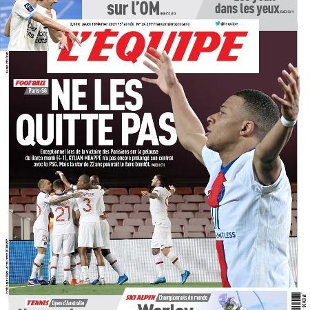 A capa do jornal francês pedindo a permanência de Mbappé - Reprodução/Twitter