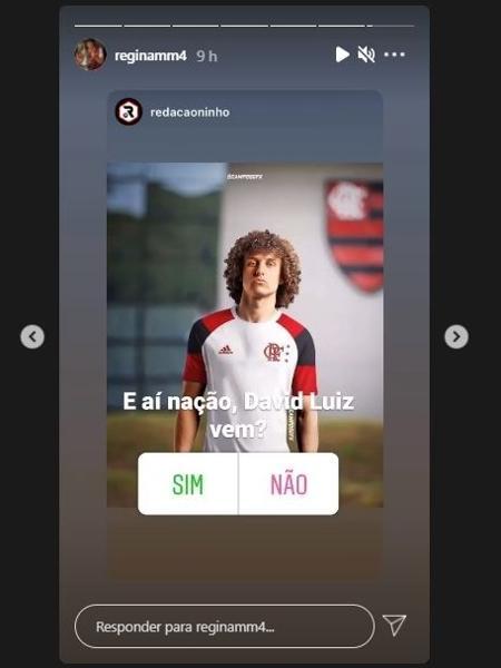Mãe de David Luiz compartilha montagem de jogador com a camisa do Flamengo - Reprodução/Instagram