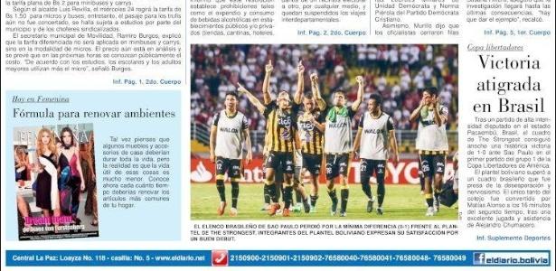 """Jornal """"El Diario"""" deu destaque secundário em sua capa à vitória do time boliviano - Reprodução"""
