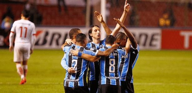 Jogadores do Grêmio comemoram gol contra LDU em Quito  - Lucas Uebel/Grêmio