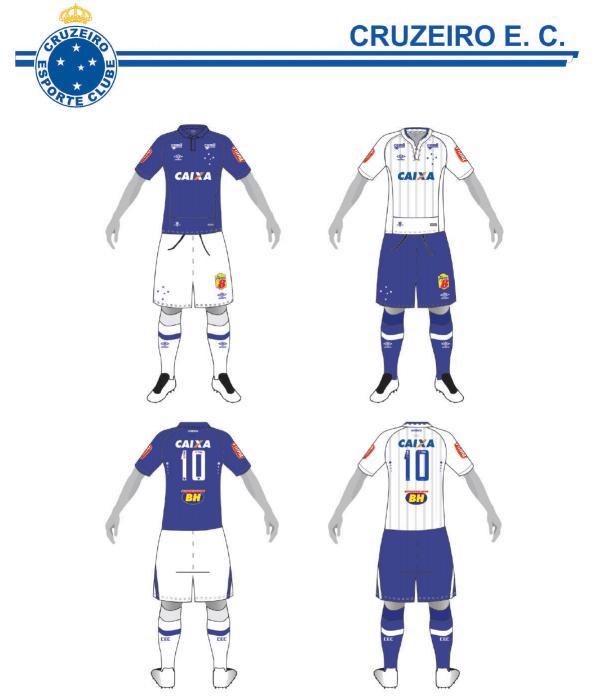 Uniformes 1 e 2 do Cruzeiro