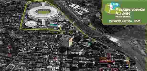 Percurso da corrida que será realizada antes de Flamengo x Corinthians no Maracanã - Reprodução - Reprodução