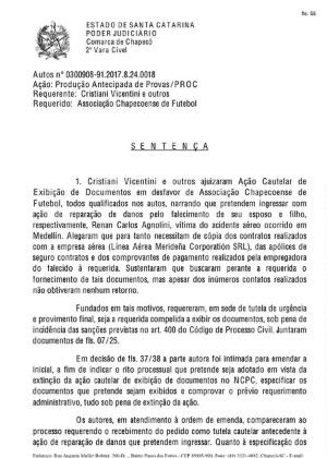 Imagem da sentença assinada pela juíza Nádia Inês Schmidt