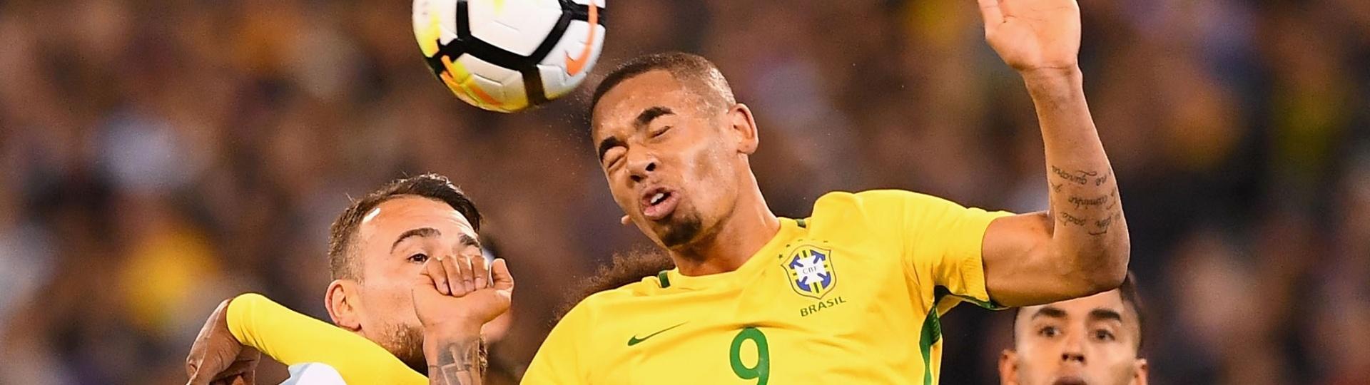 Gabriel Jesus durante partida Brasil x Argentina