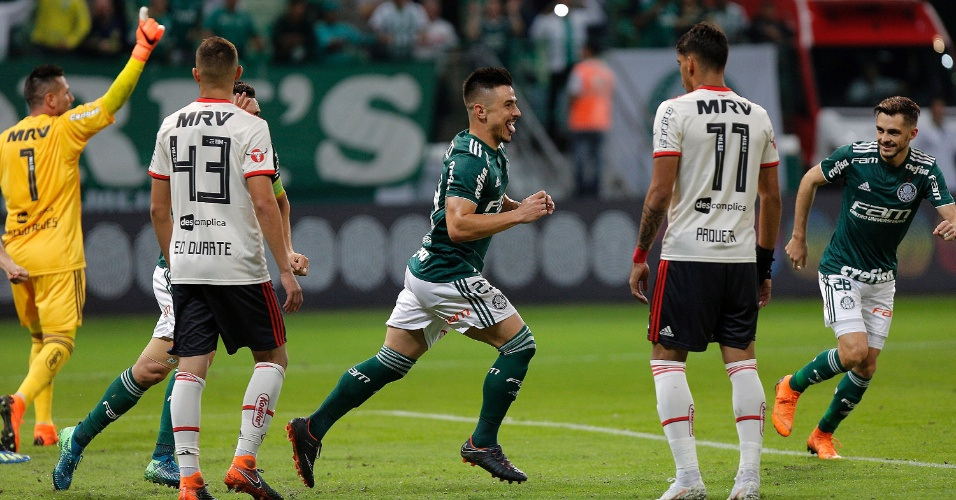 Willian comemora o gol do Palmeiras diante do Flamengo