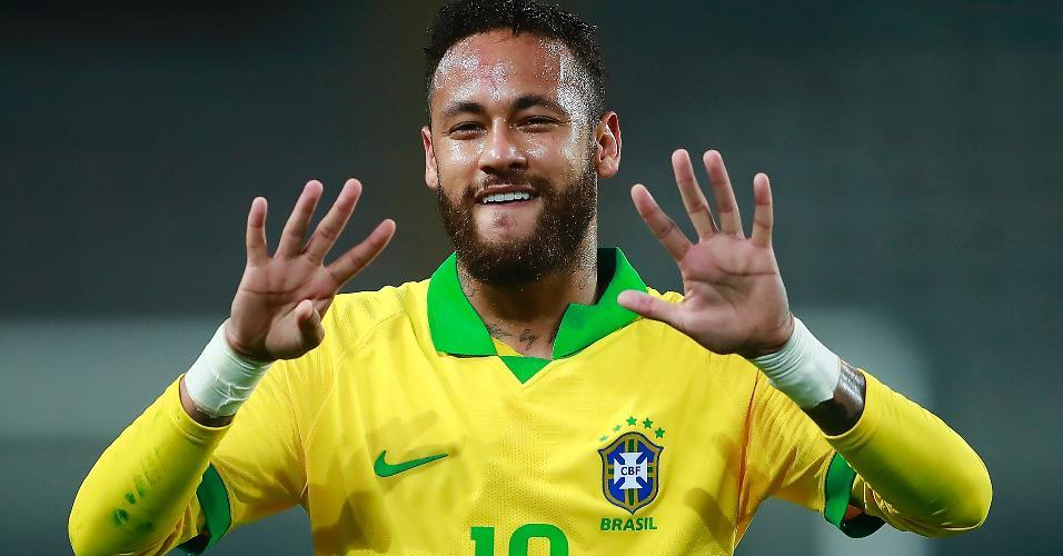 Neymar comemora seu gol pela seleção brasileira na partida contra o Peru, pelas Eliminatórias da Copa de 2022