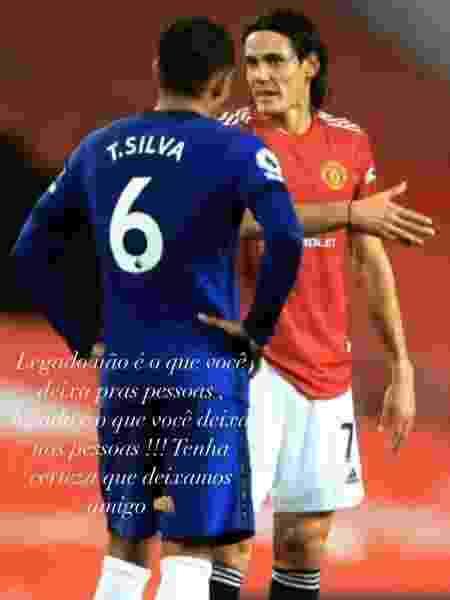 """Thiago Silva destaca """"legado"""" de Cavani em estreia pelo Manchester United - Reprodução/Instagram"""