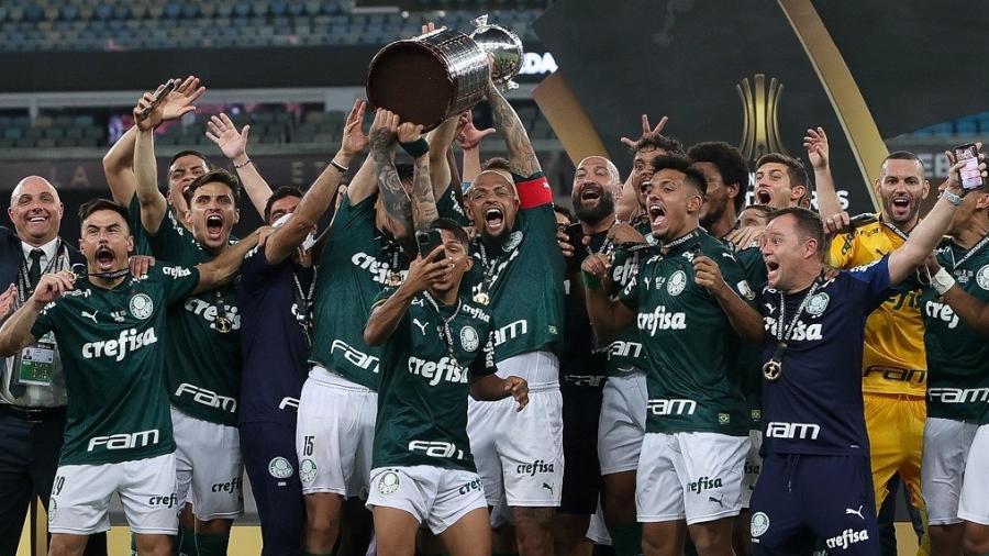 Jogadores do Palmeiras comemoram a conquista da Copa Libertadores - Cesar Greco