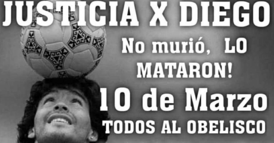 Grupos organizam protestos para reivindicar a morte de Maradona