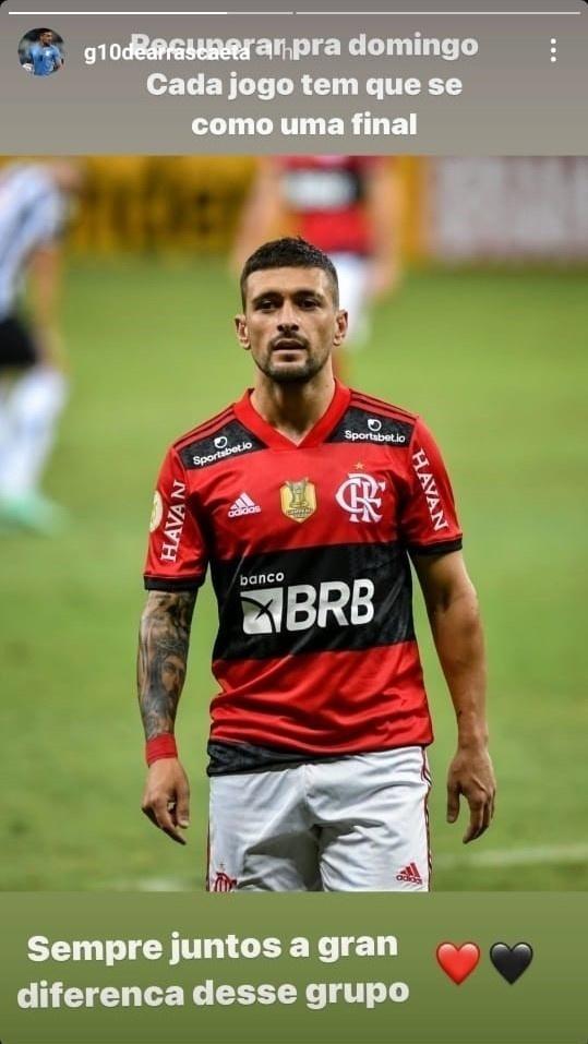 Após perder para o Atlético-MG, De Arrascaeta falou sobre recuperação do Fla em sua rede social.