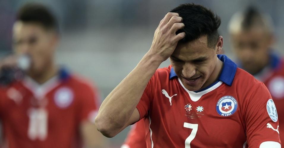 Sanchéz gesticula durante a final da Copa América