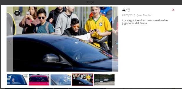 Jornal catalão Sport mostrou os torcedores do Barça no treinamento da equipe